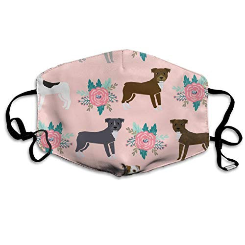 Pitbull Floral Collection Coordinating Prints in The Collection Anti Dust Mask Anti Pollution Washable Reusable Mouth Masks ()
