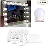 Hollywood Style LED Vanity Makeup Mirror Lights Kit White with 14 Dimmable Bulbs,Lighting Fixture Strip for Makeup Vanity Table Set in Dressing Room(Mirror Not Included)