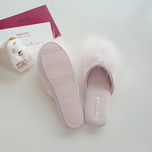 Memory Knitted Women's Pink Slippers House Light Foam Cozy Cotton HALLUCI AwZRO