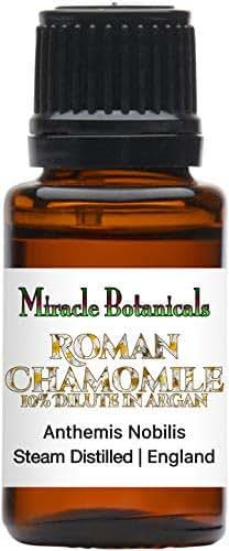 Miracle Botanicals Roman Chamomile Essential Oil - 10% Dilute in Golden Argan Oil - Anthemis Nobilis - Therapeutic Grade (15ml)