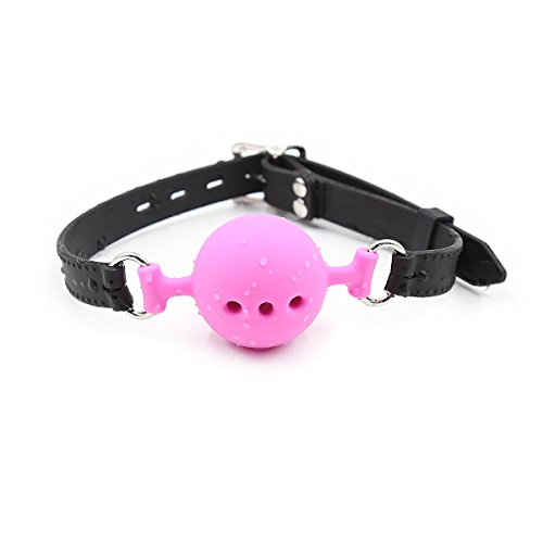 Pinwe Soft Silicone Open Breathable Mouth Gag Adjustable Paly Ball for Couple Women Men(Black+Pink,Small/Medium) by Pinwe