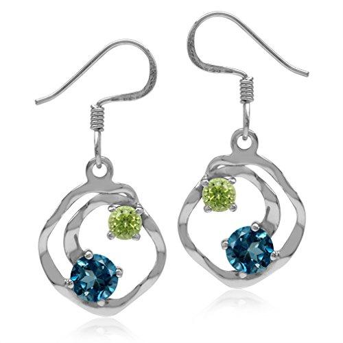 (1.24ct. Genuine London Blue Topaz & Peridot 925 Sterling Silver Textured Spiral Dangle Hook Earrings)