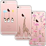 [3 Pack] iPhone 6 Case, iPhone 6S Case, Shumeifang Ultra Thin Soft Gel TPU Silicone Case Cover with Cute Cartoon for Apple iPhone 6/6S - Flamingo & Giraffe & Penguin