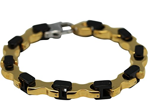 Black & Gold Bike Chain Bracelet