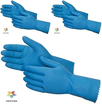 SAFEYURA� House Hold Cleaning Rubber Hand Gloves, Kitchen,Washing Toilet Cleaning,Garden -3 Pair