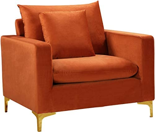 Meridian Furniture 633Cognac-C Naomi Collection Modern | Contemporary Velvet Upholstered Chair
