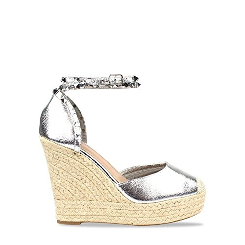 Amilia Metallic Espadrille Wedge Studded Platform Ankle Strap Sandal Silver