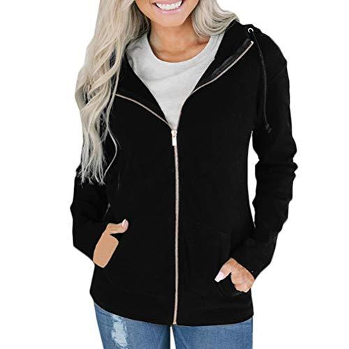 Mikey Store Women's Full Zip Hooded Sweatshirt Long Sleeve Outwear Jacket (Small, Black)