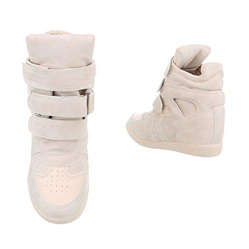 Schuhcity24 Damen Schuhe Freizeitschuhe Keil Wedgrs Sneakers Beige