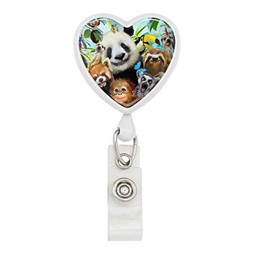 Holder Monkey Card (Zoo Animals Selfie Panda Bear Sloth Meercat Monkey Lemur Heart Lanyard Retractable Reel Badge ID Card Holder - White)