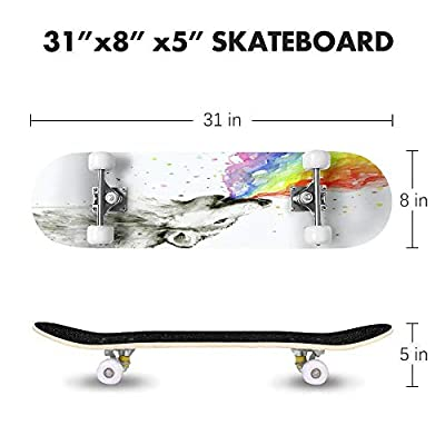 Cuskip Lytham Skateboard Complete Longboard 8 Layers Maple Decks Double Kick Concave Skate Board, Standard Tricks Skateboards Outdoors, 31
