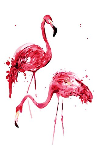 Diy Oil Painting Couple Flamingo-Paint By Numbers Kit with Brushes For Kids Adults Wall Art Home Decor For Living Room Bedroom Ready to Hang 16x20inch