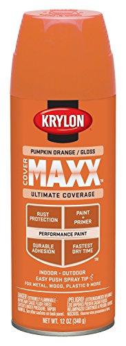 Krylon K09133000 COVERMAXX Spray Paint, Gloss Pumpkin Orange, 12 Ounce (Pumpkin Paint)