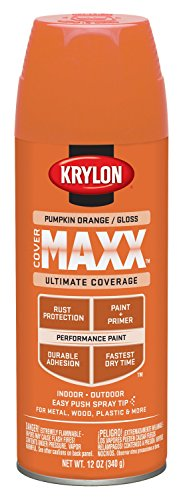 Krylon K09133000 COVERMAXX Spray Paint, Gloss Pumpkin Orange, 12 Ounce