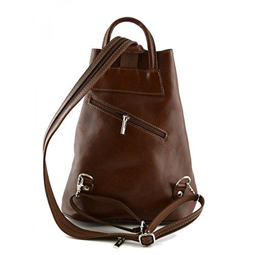 Damen Echtes Leder Rucksack Mit Träger Und Reißverschluss- Aniuk Farbe Braun - Italienische Lederwaren - Rucksack