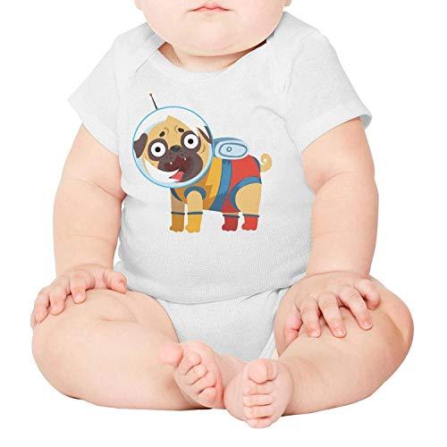 WooWe Unisex Baby Boy Girl Cute Alien Astronaut Dog Short-Sleeve Bodysuit
