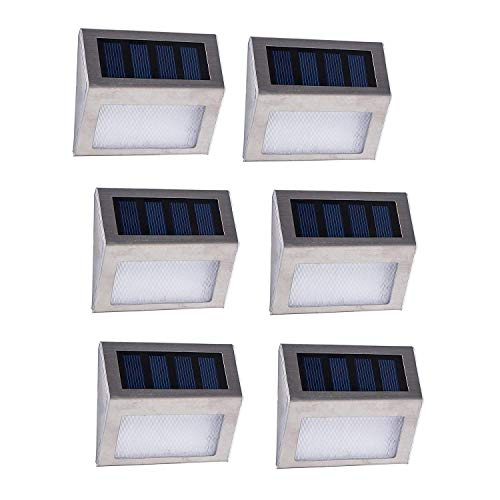 Decoroom Solar Lights Motion Sense Step Light LED Outdoor Solar Stairs Lights Garden Pathway Patio Lamp Steel 6 Pack