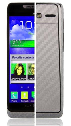 Motorola Razr I Screen Protector + Silver Carbon Fiber Full Body (XT890), Skinomi TechSkin Silver Carbon Fiber Skin for Motorola Razr I with Anti-Bubble Clear Film Screen