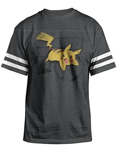 Pokemon Saga Pikachu Adult Charcoal Heather T-Shirt (X-Large) ()