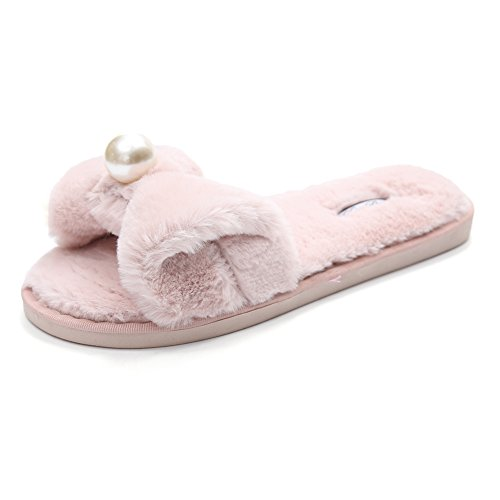 CYBLING Womens Fashion Bowknot Fluffy Open Toe Indoor Slipper Non-Slip Soft Sole Pink 6DXD5jW2a