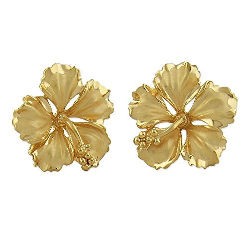 14kt Yellow Gold Plated Sterling Silver 5/8 Inch Hibiscus Stud - Ring Hibiscus Silver