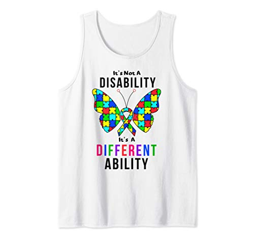 Autism Awareness Puzzle Piece Ribbon and Butterfly design Tank Top