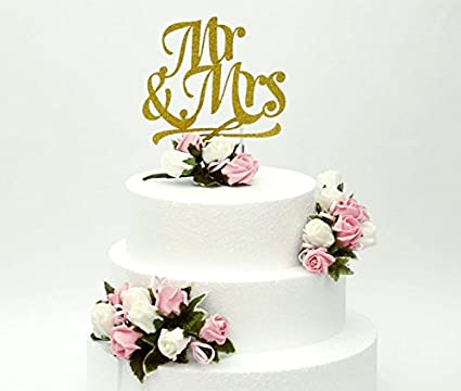 LissieLou Mr And Mrs Cake Topper Wedding Flowers