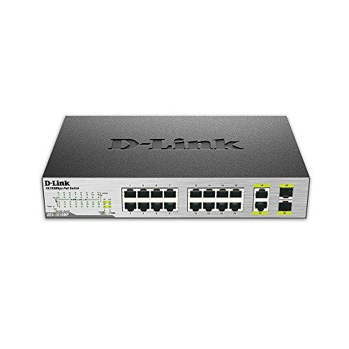 D-Link DES-1018MP 18-Port 10/100 Unmanaged Desktop or Rackmount PoE Switch including 2 1000BASE-T/SFP Combo Ports by D-Link