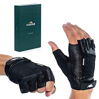 ORIZONTALL Workout Gloves for Gym, Cross Training, Exercise, Fitness, Powerlifting-for Men & Woman- Breathable and Durable Elasticated Fabric- Leather Palm Protection Training Gloves