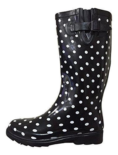 Dots Small Black White Boots MSTKH Womens Rubber Rain PSW Polka wpXA8xnzAq