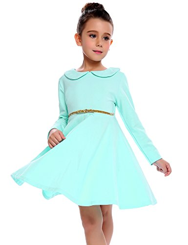 Arshiner Girls Long Sleeve Doll Collar Dress Solid Color A Line Peter Pan Collar Cotton Dress, Sapphire, 120(Age for 6-7 years)