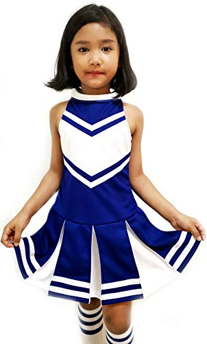 Little Girls' Children Kids Dress Cheerleader Cheerleading Sport School Uniform Costume Blue/White (M / 5-8)