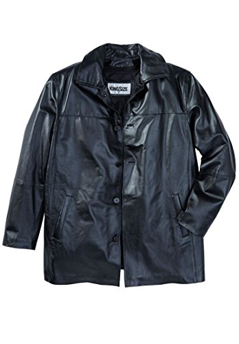 KingSize Men's Big & Tall Updated Leather Car Coat, Black Big-8Xl - Tall Car Coat