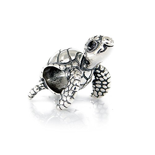 Cute Turtle Sterling Silver Charm Bead S925, Cute Tortoise Sea Animal Silver Charm Bead Pendant, Silver Ocean Summer Charm, Pandora compatible Charm Jewellery by Aurora Charm & Unique Beach Jewellery