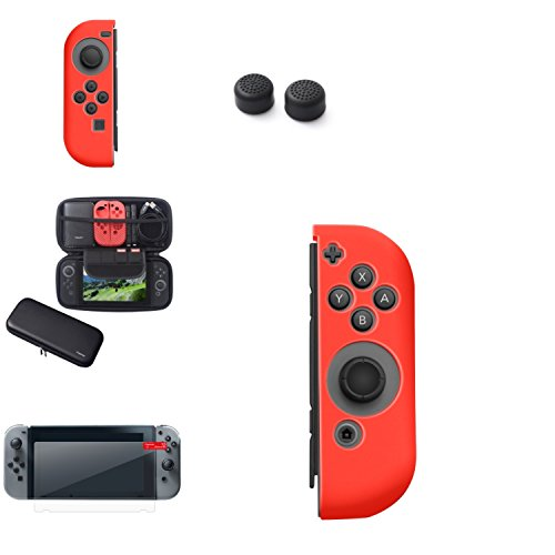 Wii Essential Starter Kit (Insten Nintendo Switch Starter Kit - Including Travel Carrying Case, Joy Con (L/R) Cover, Thumb Grip Stick Caps & Screen Protector For Nintendo Switch Console Controller [2017 New Release], Bk/Red)