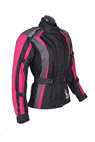 ROLEFF RACEWEAR Damen Textil Motorradjacke mit Protektoren, Gute Belüftung, Taillierter Schnitt, Schwarz, Pink, Größe