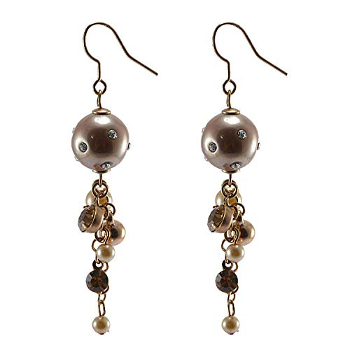 Saamarth Impex Champagne CZ & Pearl Gemstone Rose Gold Plated Earring PG-125350 ()