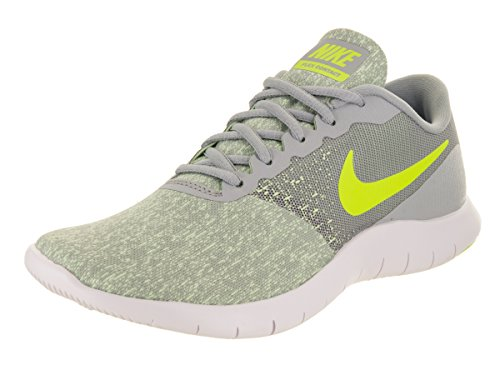 NIKE Womens Flex Contact Running Shoe Wolf Grey/Volt-Barely Volt-White 8 (Nike Women Shox Shoes)