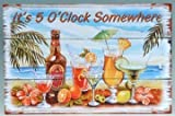 It's 5:00 Somewhere Tropical Party Wooden Plaque