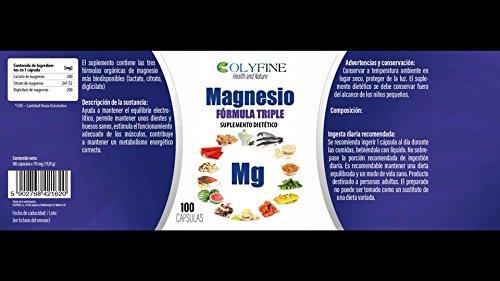 Magnesio Triple Fórmula (Lactato de magnesio+ Citrato de magnesio+ Diglicilato de magnesio) 100 cápsulas de 791mg.: Amazon.es: Salud y cuidado personal