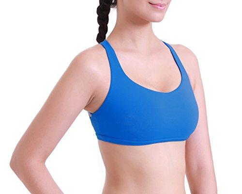 Queenie Ke Mujer Yoga Deportes correas del sujetador con relleno extraíble Cruz Azul