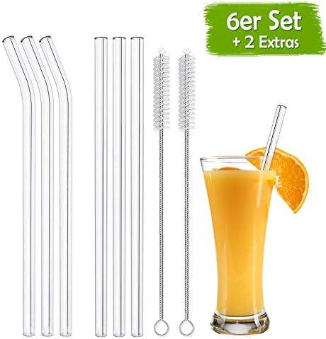 [Gesponsert]YIKE Glas Strohhalm Wiederverwendbar Glas Trinkhalme Eco Nachhaltige Strohhalme für Cocktail Smoothie Tee, 8er Set Mit 2 Reinigungsbürsten …