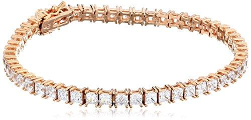Rose Gold Plated Sterling Silver Princess-Cut Tennis Bracele