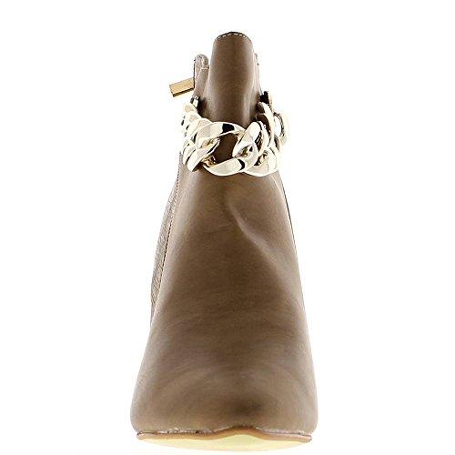 Stivaletti Taupe bi Donna Materiale ChaussMoi 9cm Tacco Catena fvxxwnP