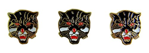 Wildcat School Mascot Gold Toned with Enamel Lapel Pin, Pack of 3
