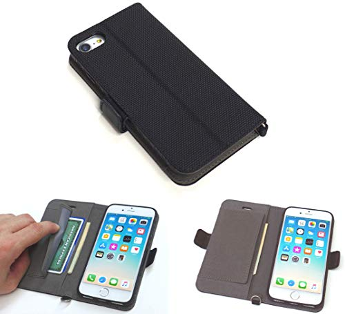 New iPhone Wallet Case P1 for iPhone 7, iPhone 8, 6S, 6. Rugged Durable, Shock Resistant. Ballistic Nylon Material/Cover. ID Credit Card Pockets. Optional Wrist Strap, Magnetic Clasp, Kickstand, Black