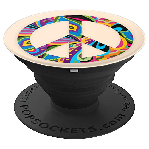 Colorful Peace Sign Symbol love hippie anti war pop socket - PopSockets Grip and Stand for Phones and Tablets