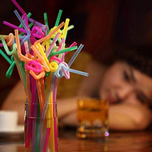 Risaho 100/400/500/600 Stück Trinkhalm Plastik Strohhalme Bunte Mehrfarbig plastiktrinkhalme Flexible Trinkhalme für Zuhause, Bar, Partys (100PC)