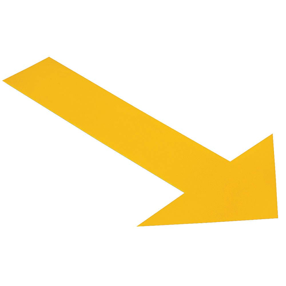 Ind Floor Tape Markers, Arrow, Yllw, PK50 by Mighty Line