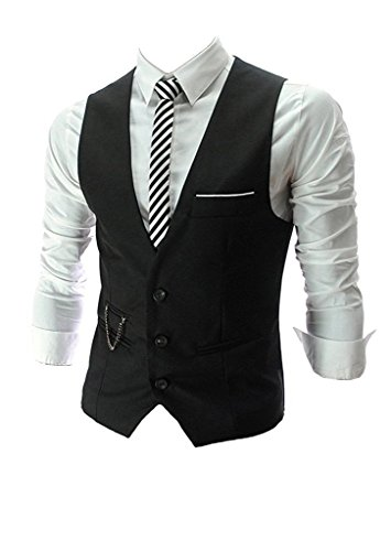 PXS Vest V-Neck Sleeveless Slim Fit Jacket Men Business Waistcoat (Black, L) by PXS